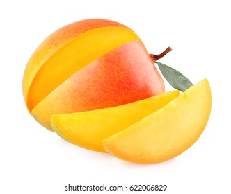 Ripe mango with slices isolated on white background