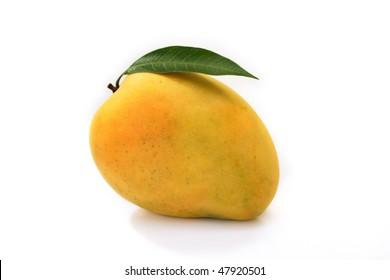 Ripe mangoe on white