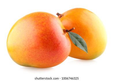 Ripe mangoes isolated on white background