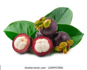 Ripe mangosteen fruit isolated on a white background.