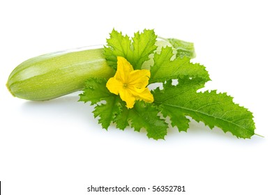 ripe marrow vegetable with leaf isolated on a white background