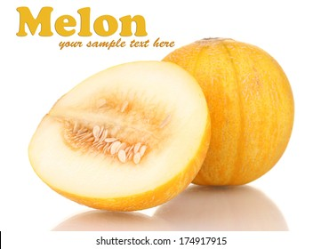 Ripe melon isolated on white