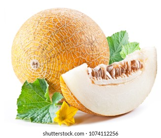 Ripe melon and melon slice on white background.