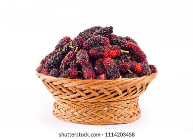 ripe mulberry in  brown basket is a fruit with vitamins. on white background healthy mulberry fruit food isolated