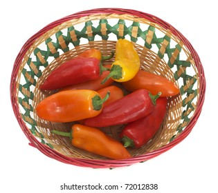 Ripe Multicolored Mini Sweet Bell Peppers in a Colorful Mexican Basket