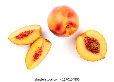 ripe nectarine isolated on white background. Top view. Flat lay pattern