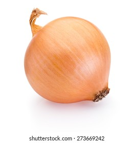 Ripe onion isolated on white background