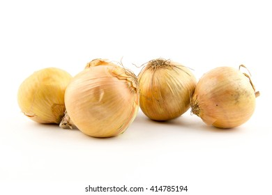 Ripe onion on a white background / yellow onion isolated on white background cutout / Fresh golden onions / close up isolated