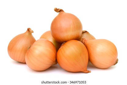 Ripe onions isolated on white background
