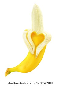 Ripe open banana with skin heart shape isolated on white background