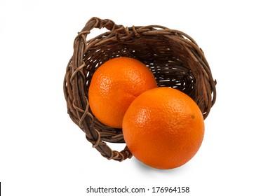 Ripe orange in a basket