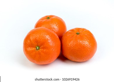 Ripe orange fresh mandarin, mandarin slices, isolated on white background