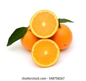 ripe Orange fruit isolated on white