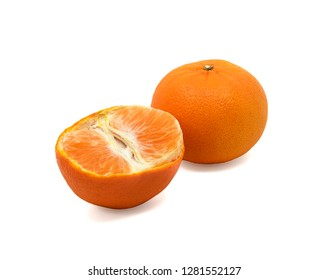 A ripe orange  with halved  isolated on white background , with clipping path.  - Image,