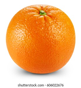 Ripe orange isolated on white background Clipping Path - Shutterstock ID 606022676