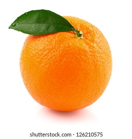 Ripe orange with leaf