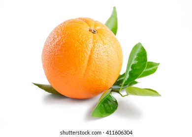 Ripe orange with leaves isolated on white background