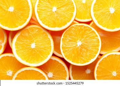 Ripe orange slices as background