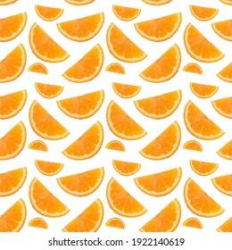 Ripe orange slices isolated on white background. Seamless pattern.