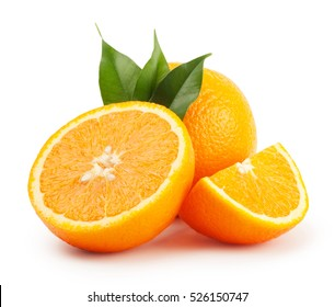Ripe oranges with the leaves isolated on white background