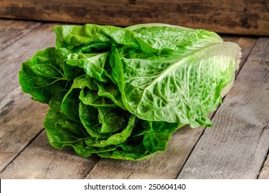 ripe organic green salad Romano on rustic wooden background