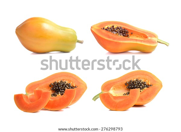 ripe papaya fruit on white background
