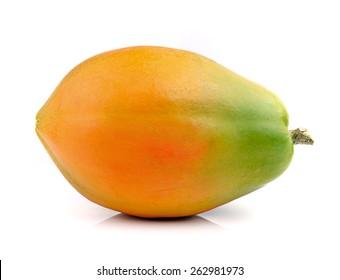 ripe papaya isolated on a white background