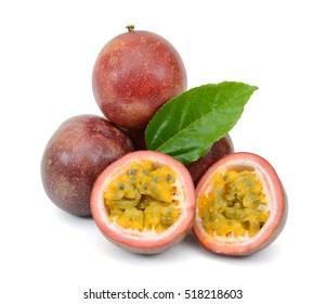 Ripe Passiflora edulis fruits isolated on white background