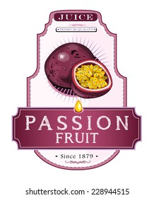 Ripe passion fruit and a cut piece of it on a juice or food product label or emblem, hand-drawn illustration