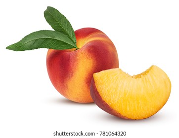 Ripe peach fruit with leaf and slice isolated on white background. Clipping Path