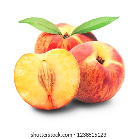 Ripe peach fruit with leaves and slises isolated on white background