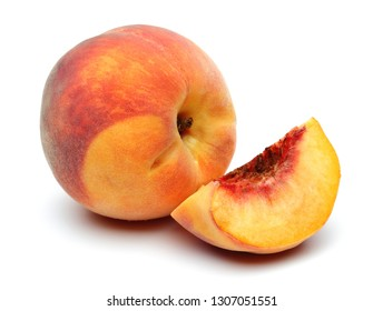 Ripe peach fruits isolated on white background