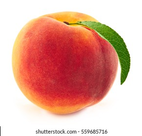 ripe peach isolated on white background