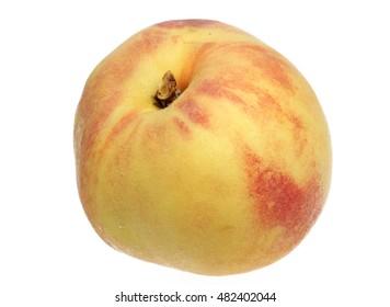 Ripe peach on a white background