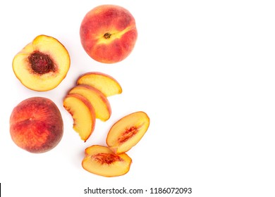ripe peaches isolated on white background with copy space for your text. Top view. Flat lay pattern