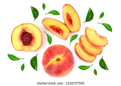 ripe peaches with leaves isolated on white background. Top view. Flat lay pattern