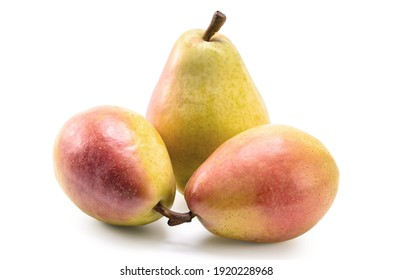 ripe pear fruits on white background with soft shadow