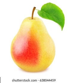 Ripe pear with green leaf isolated
