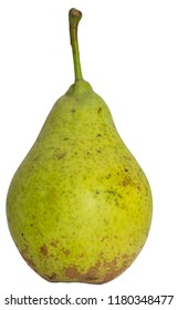 A ripe pear on white.