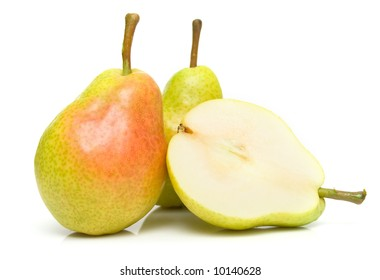 The ripe pears isolated on the white