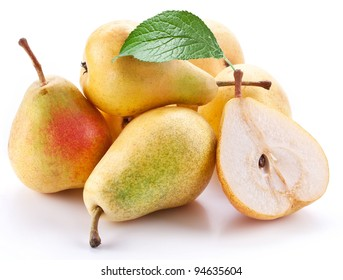 Ripe pears with a leaf.Objects are isolated on a white background.