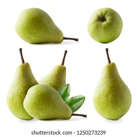 Ripe pears with leaves isolated on a white background. Three pears with copy space for text. Green pears close-up. Pear on white background. Set of pears.