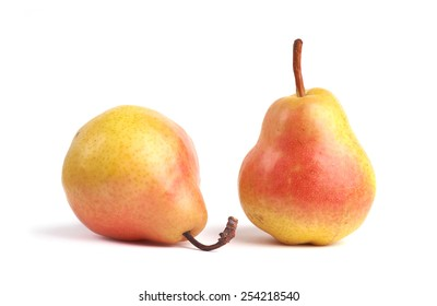 Ripe pears on white background.