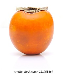 Ripe persimmon with cut isolated on white background