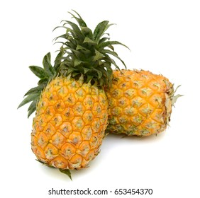 ripe pineapple fruits isolated on white background