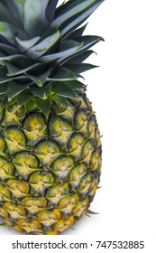 Ripe Pineapple isolated on white background, Cutting path
