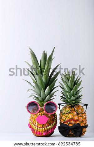 b57aa61f3b22 Ripe Pineapples Glasses On Grey Background Stock Photo (Edit Now ...