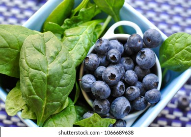 Ripe plump organic farmers market blueberries in small white dish in a blue square dish on a multi-hued blue and white checked background with vibrant green spinach leaves.