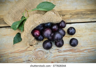 Ripe plums in a bag