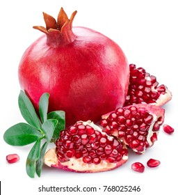 Ripe pomegranate fruits with pomegranate leaves on the white background.